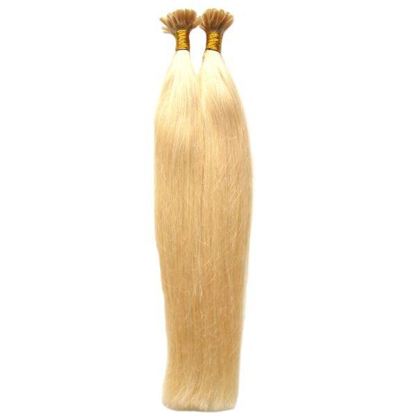 Итальянский кератин Fusion Nail U TIP Наращивание волос 100S # 613 Отбеливатель Блондинки Virgin Натуральные бразильские наращивание волос Remy Pre Bonded Nail Hai