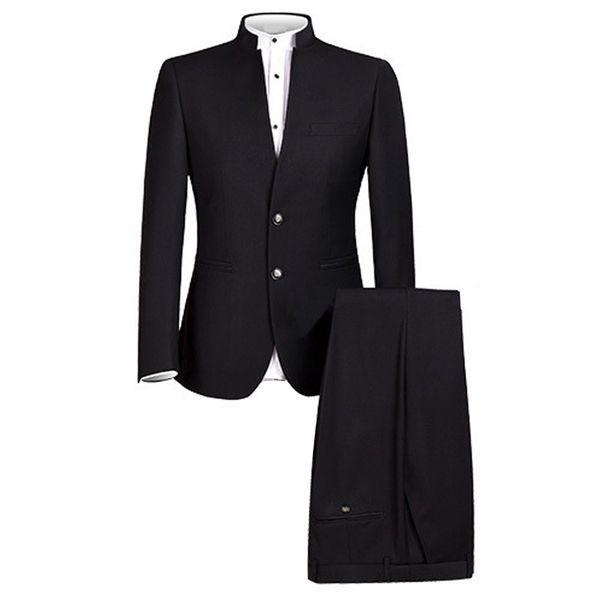 Мужской костюм китайский традиционный равномерный китайский костюм туника 2 шт. Торжественная одежда Slim Fit мужские костюмы жених свадебные брюки пиджак