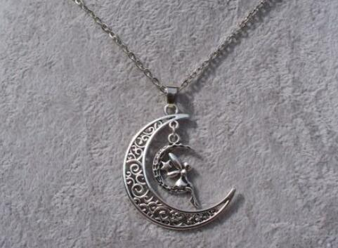 Filigree Crescent Moon Butterfly Angel Star Knot Pentagram Fairy Face Necklace Pendants Vintage Silver Charms Choker Women Jewelry