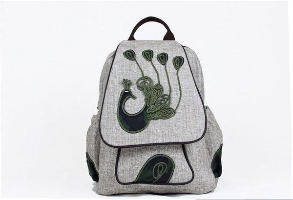 2019 new fashion large bags shoulders bags for women and girls hand-making cotton and linen Art style of high quality backpack Colle