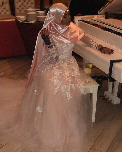 2019 elegante alta neck mangas compridas rosa africano muçulmano vestidos de casamento lace com hijab 3d flor apliques black girls vestidos de noiva