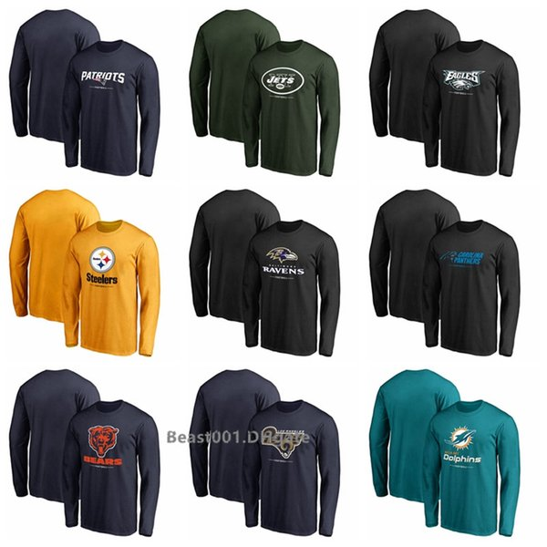 Men Patriots Jets Eagles Steelers Ravens Panthers Bears Rams Dolphins Pro Line Team Lock up Long Sleeve T-Shirt