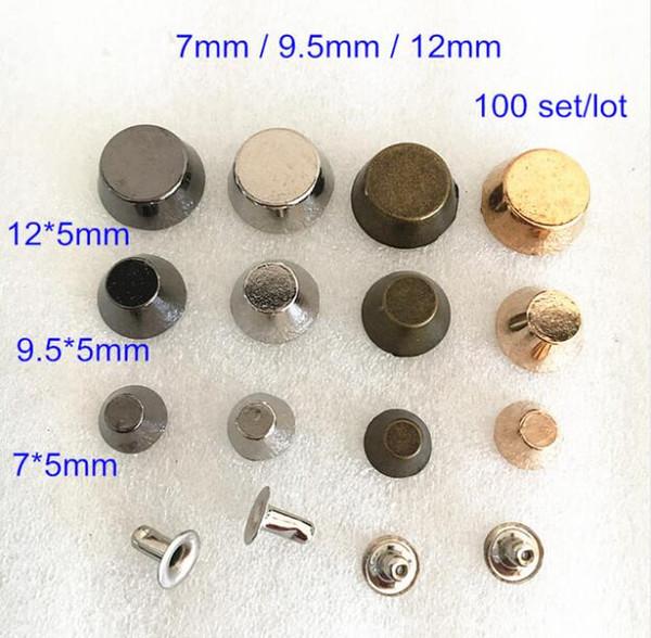 100 set Bucket Rapid Rivet Spike Stud,7mm,9.5mm,12mm,Rose Gold,Silver,Black,Bronze,Leathercraft Rivet,DIY Bags,Shoes Decoration