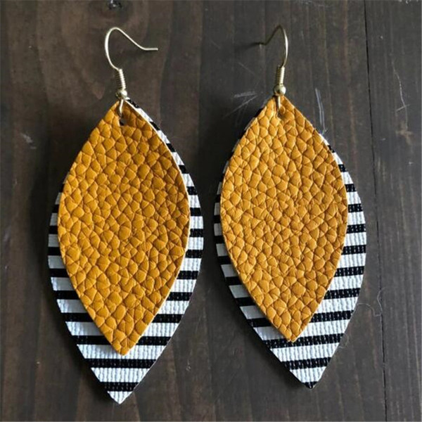15 pair/set Bohemia 2 layers Glitter stripe Leather Earrings For Women Leopard Leather Earrings Lightweight Earrings wholesale