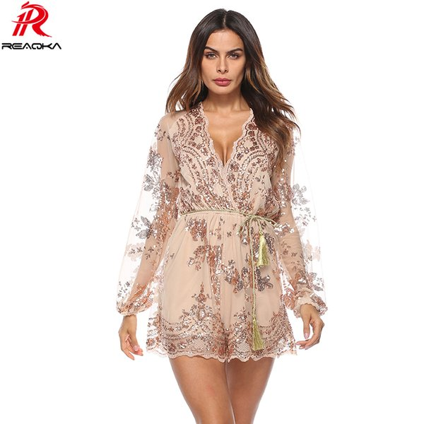 2018 Summer Sexy Bodysuit Women V Neck Sequins Jumpsuit Mesh Long Sleeve Clubwear Gold Party Romper Runway Playsuit Overalls Hot Y19060501