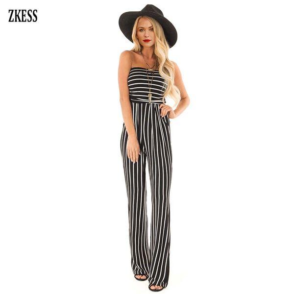 wholesale Women Black White Contrast Striped Sleeveless Jumpsuit Fashion Casual Strapless Elastic Waist Slim Playsuits Pockets 64514