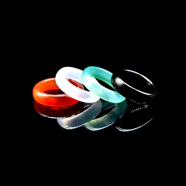 Jade Banda Anéis Venda Quente 6mm Ágata Anel de Dedo para As Mulheres Homens Moda Jóias Preto Vermelho Verde Cinzento Calcedônia Atacado Frete Grátis