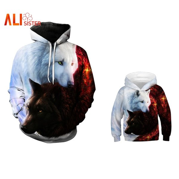 Family Matching Outfits Sweatshirt Harajuku Wolf Printed Hooded Hoodie Fashion Parent-child Hoody Casual Pullover Family Clothes