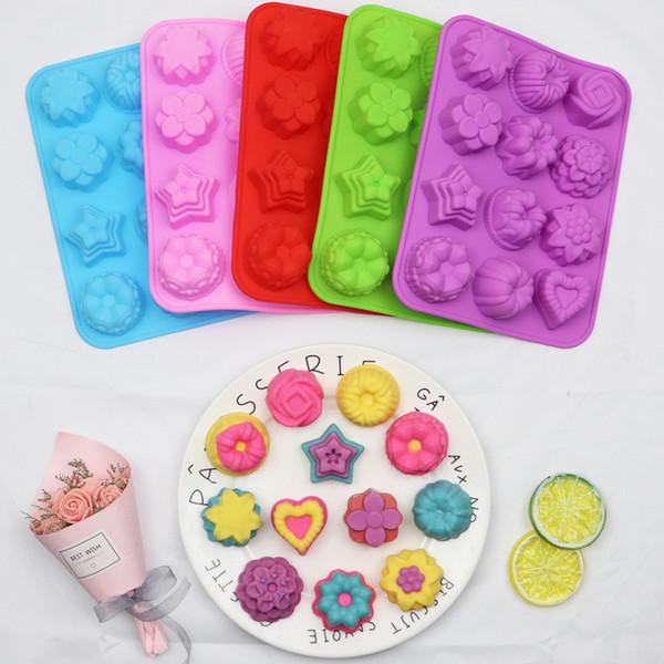 Силиконовые Украшение торта Плесень 12 различных цветов-образного 3D Силиконовой Луны торт прессформы DIY мыла ручной выпечка инструмент Бесплатная доставка