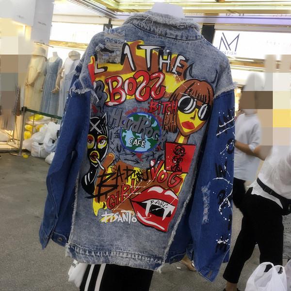 Jean Jacket Women Denim Jackets New Spring Capispalla Patchwork Oversize Fashion Print Cappotto femminile Collo rovesciato