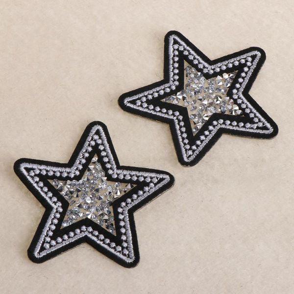 IY Giysi Dikiş Kumaş Yamalar 2 adet / grup Yıldız Yamalar Düzeltme Rhinestone Trim Demir On Rhinestones Kristal Motifleri Aplike Çocuk ...
