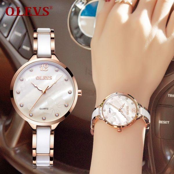Olevs Ceramic Women Watch Luxury Rose Gold Ladies Wristwatches Japan Imports Quartz Movement Watches Relogio Feminino C19041203