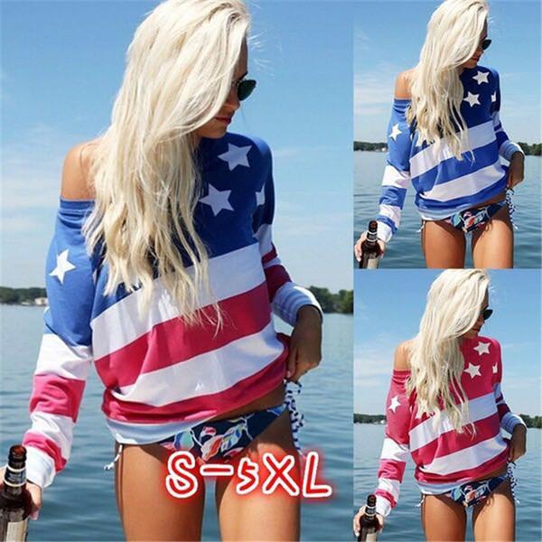 Women T-Shirts USA Flag Star Striped Printed Tops off shoulder Long Sleeve Summer Casual Soft Tops Female Tees Girls LJJA2379