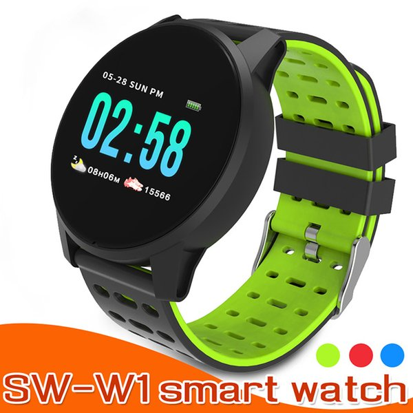 SW-W1 Smart Watch W1 Fitness Tracker Smartwatches with Heart Rate Wristband for iPhone Android Cellphones PK DZ09 U8 with Box