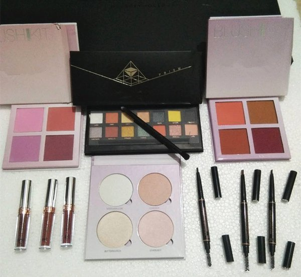 In tock makeup et beauty lip tick eye hadow glow highlighter blu h eyebrow pencil full box chri tma gift dhl hipping
