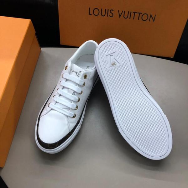 2019 Tendência Bordado Dos Homens Listras Impresso Sapatos esportivos Casuais de Alta qualidade personalidade designer Homens sapatos de couro Genuíno sapatos casuais