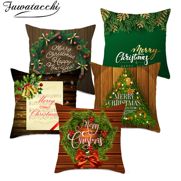 Fuwatacchi Wood Grain Christmas Tree Cushion Cover Nordic Style Wreath Pillowcases For Home Sofa Chair Decorative Pillow Cover