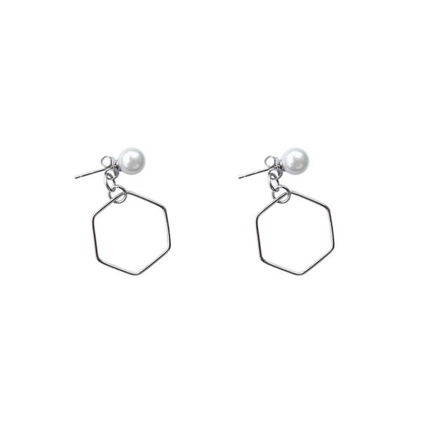 Moderno oco Hexagon Shell Pearl 925 brincos pendurados de prata