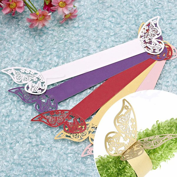50pieces/lot Butterfly Style Laser Cut Porta Guardanapo Paper Napkin Rings Napkins Holders Hotel Wedding Favors Table Decoration C19021301