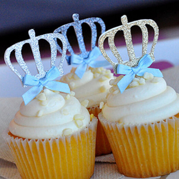 Bowtie Crown Cupcake Topper Dessert Cake Stand Wedding Decoration Birthday Supplies Cake Decorating For Kids 10 Pcs