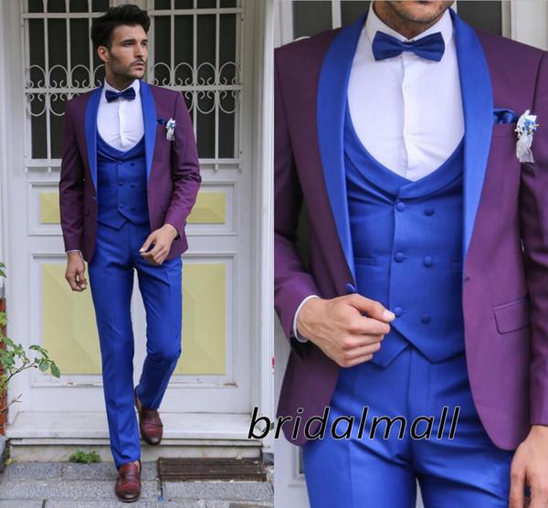 Smoking da sposa moda Abiti da sposa sposa 3 pezzi per uomo blu e viola Blazer formale sposo smoking smoking Tux (giacca + pantaloni + cravatta + gilet)