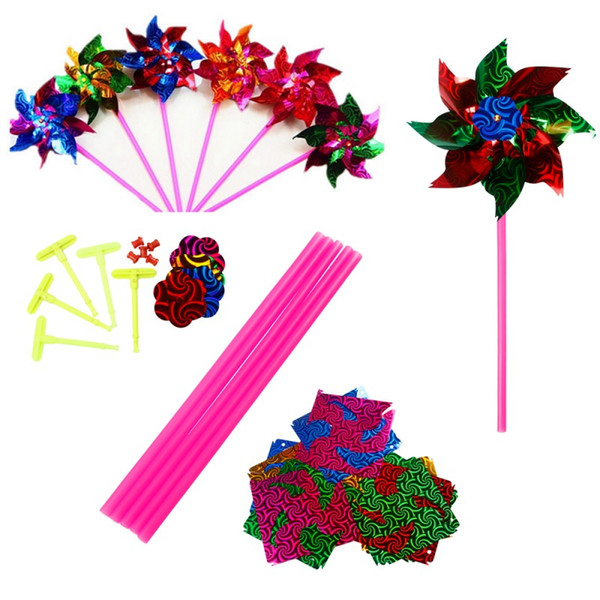 Colorful Plastic Windmill Pinwheel Self-assembly Flower Wind Spinner Pinwheel Plastic Thin Slice Windmill Kids Toy Gift For kids toys