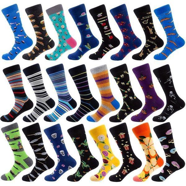 top popular Men Socks Combed Cotton Cartoon Animal Owl Frog Shark Striped Novelty Funny Socks Casual Calcetines Hombre 2pcs=1pairs 2021