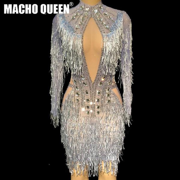 Costumi sexy drag queen partito eventi strass frangia abiti scintillanti della nappa di prestazione Costumi da ballo latino Outfits