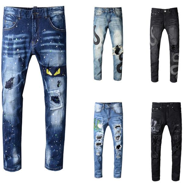 Men Skinny Biker Jeans Brand Designer US Size 28~40 Slim Fit Mens Motorcycle Moto Biker Hip Hop Mens Denim For Men