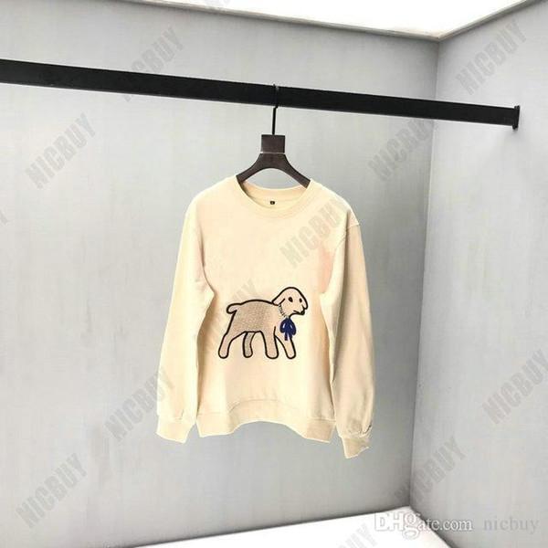 mens diseñador de la marca de ropa de moda otoño acuden cordero diamante animales cuello de letras de color rojo sudaderas de impresión pulóver sudadera de algodón informal