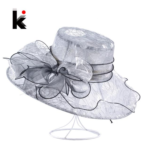 Womens Organza Bow-Knot Bucket Hat Wedding Party Cap For Ladies Kentucky Derby Hats Female Summer Wide Birm Sun Chapeau Feminino