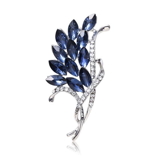 Romantik Mavi Kristal Rhinestone Çiçek Kadınlar ve Erkekler için Broşlar Düğün Takı Hediye Altın Gümüş Çiçek Broş Broşlar Iğneler