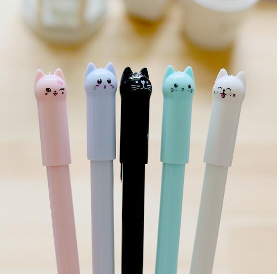 top popular 2019 Hot selling Originality Lovely Long tailed kitten Neutral pen black 0.5mm School Supplies Black water pen School Office Supply 2019
