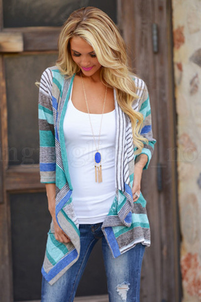 best selling Women Striped Cardigan 2 Colors Irregular Three Quarter Sleeve Outwear Asymmetry Loose Tops Patchwork Outdoor Coats 20pcs OOA6775