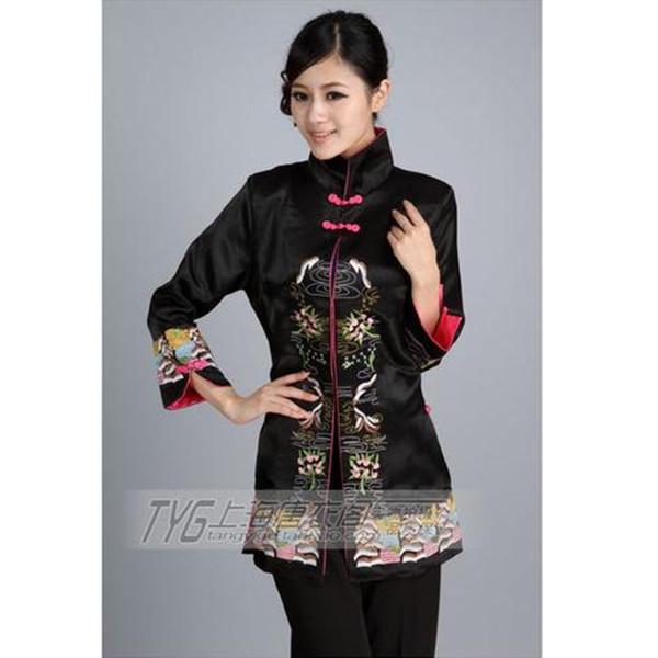 NEW Free Shipping Chinese Tradition Ladies' Tang Suit Silk Satin Jacket V-neck Coat Flower Outwear S M L XL XXL XXXL T23