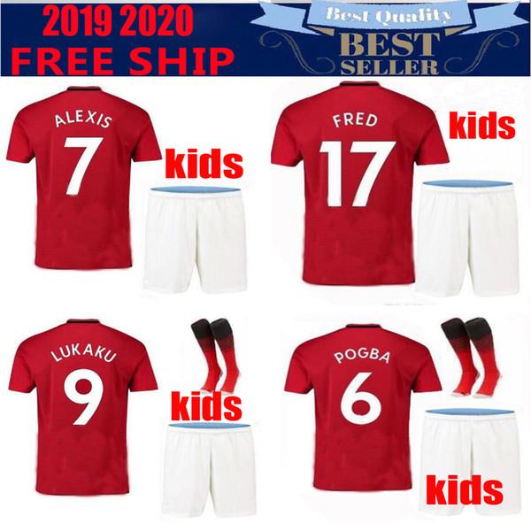 Thailand POGBA Manchester soccer jersey 2019 LUKAKU RASHFORD MARTIAL ALEXIS football kids kit United UTD jersey 19 20 KIDS SETS MATA LINGARD