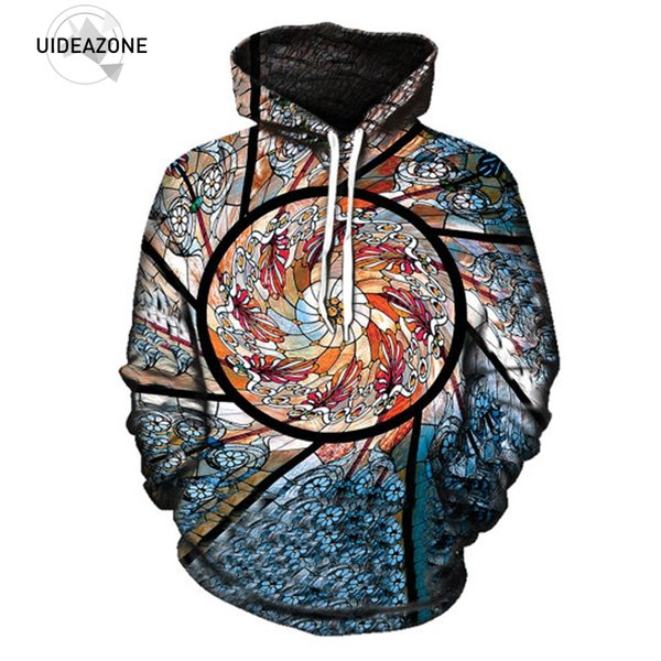 UIDEAZONE 3D Hoodie Print Festival Clothing Stained Glass Art Sublimation Print Trippy Unisex Hoodies Sweatshirt Plus Size 3XL