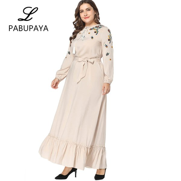 Muslims Islamic Elegance Kimono Long Sleeve Dress Plus Size Middle East  Gown Ladies Abya Maxi Dresses Robes Turkey Clothing White Dress With Gold  ...