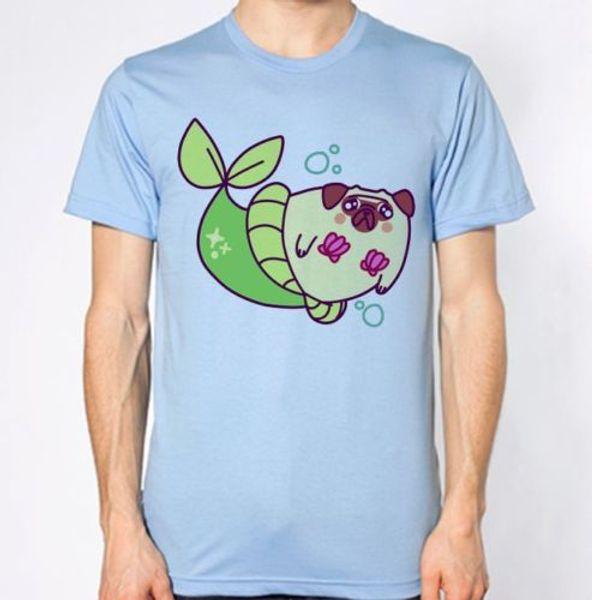 Pug Top Dog Animal Lover Puppy Funny Hilarious New T-Shirt Mermaid ParodyMen Women Unisex Fashion tshirt Free Shipping