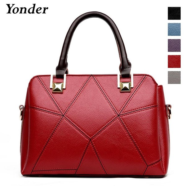 Yonder women leather handbags fashion shoulder bag ladies hand bags designer high quality artificial leather tote bag female Red