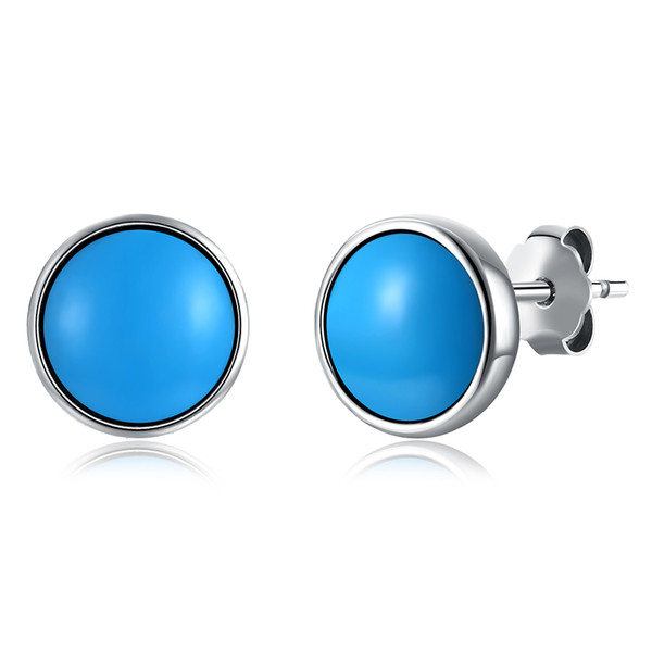 Round Pattern Earrings S925 Sterling Silver Mosaic Turquoise Simple Generous Design Stud Earrings Accessories Trendy Birthday Gift POTALA174