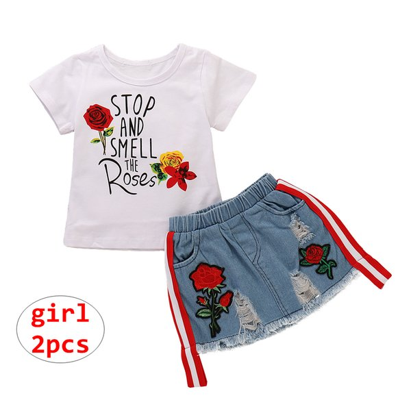 INS Menina Conjuntos de Roupas de Criança Flor letra impressão shirt + shorts jeans 2 PCS Outfit Bebê Verão Fresco roupas