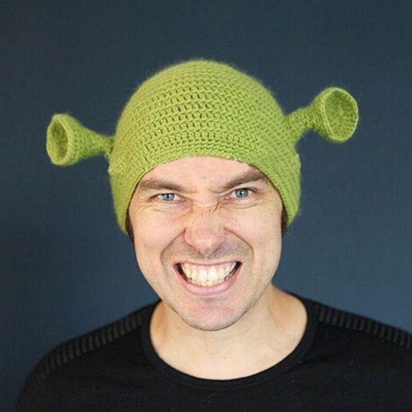 Shrek Funny Men Hat Knit Green Monster Skullies Hat Con Orejas Regalo de Halloween Sombrero de Invierno Novedad Beanie Skullies MMA1729