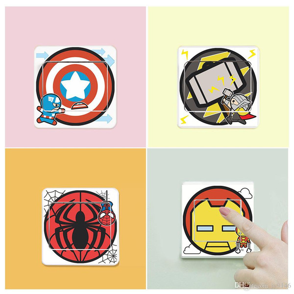 The Avengers Cartoon Switch Stickers PVC Captain America Creative Stickers for Kids Room Cute Decals Home Decor
