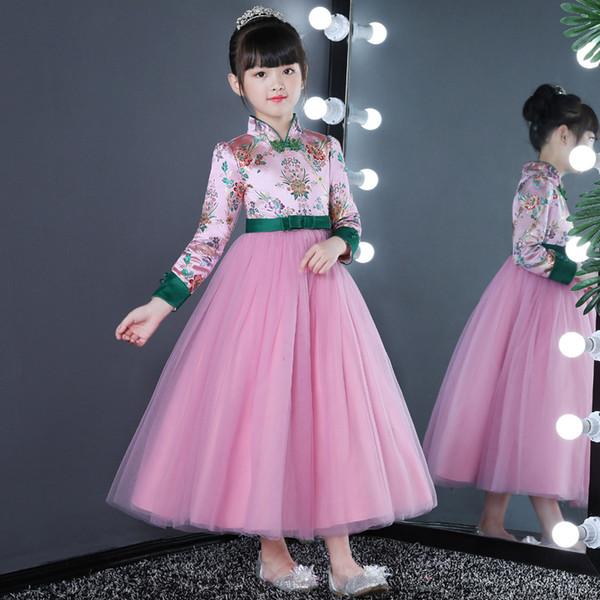 Vestito da compleanno per bambini con abito da spettacolo in velluto a maniche lunghe Vestito da bambina rosa, medio e grande, da bambina