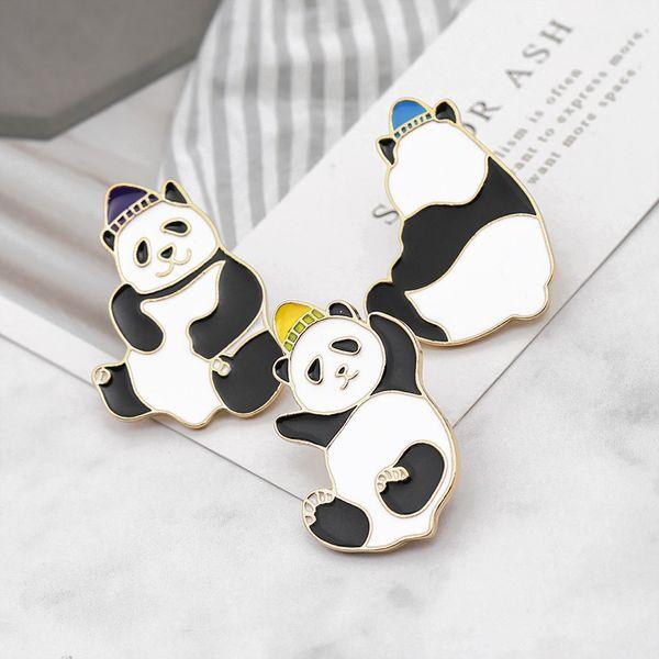 Fashion Cute Enamel Panda Brooch Creative Kawaii Animal Cartoon Pin Coat Collar Bag Cap Badge Jewelry Gift For Men Women Kids