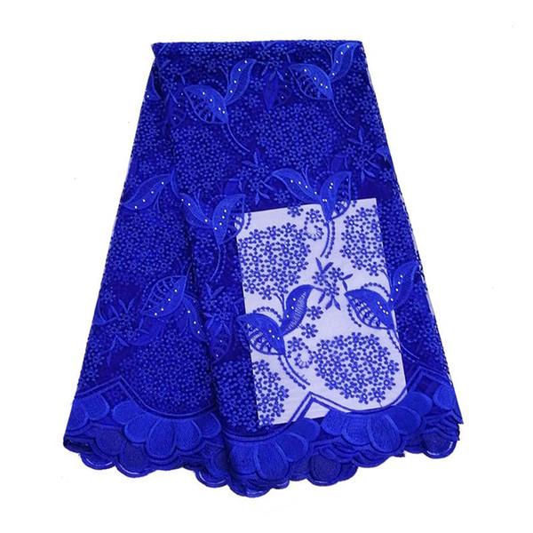 5 Yards Tessuto di pizzo africano blu reale con pietre perline tessuto di pizzo netto di alta qualità per abiti da sposa