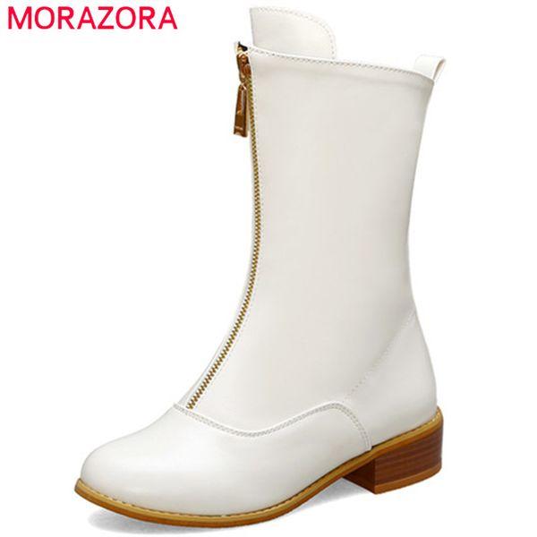 MORAZORA 2020 plus size 48 women ankle boots round toe zip autumn winter booties unique comfortable square heels shoes ladies