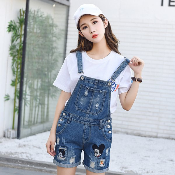 Blue Jeans Romper Denim Overall For Women Overalls Jeans Shorts Jumpsuits Summer Ripped Overalls Denim Pants Strap New