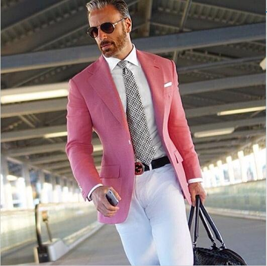 Hot Pink Suit Men Blazer Formal Men Suit With White Pants Smart Casual Business Terno Slim Fit Tuxedo Coat Jacket Costume Homme